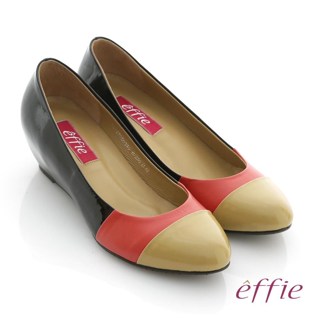 effie 都會摩登 全真皮多色拼接楔型跟鞋 橘紅