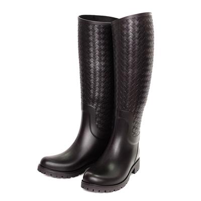 BOTTEGA VENETA經典編織高筒雨靴(深咖啡)