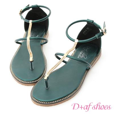 D+AF 絕美焦點.金屬鍊條細帶平底涼鞋*綠