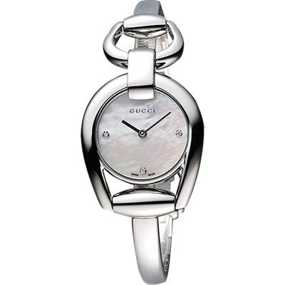 GUCCI Horsebit 唯美真鑽手鍊腕錶-珍珠貝/28mm