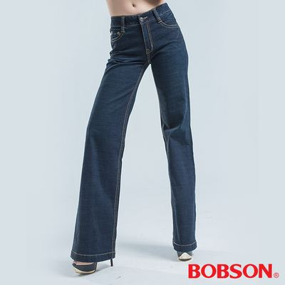 BOBSON 中腰BAGGY大叭褲-深藍