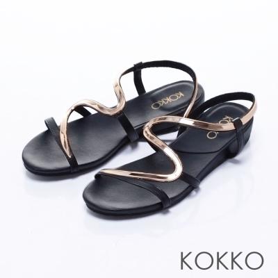 KOKKO經典手工 -優雅金屬S型曲線楔型涼鞋-  黑