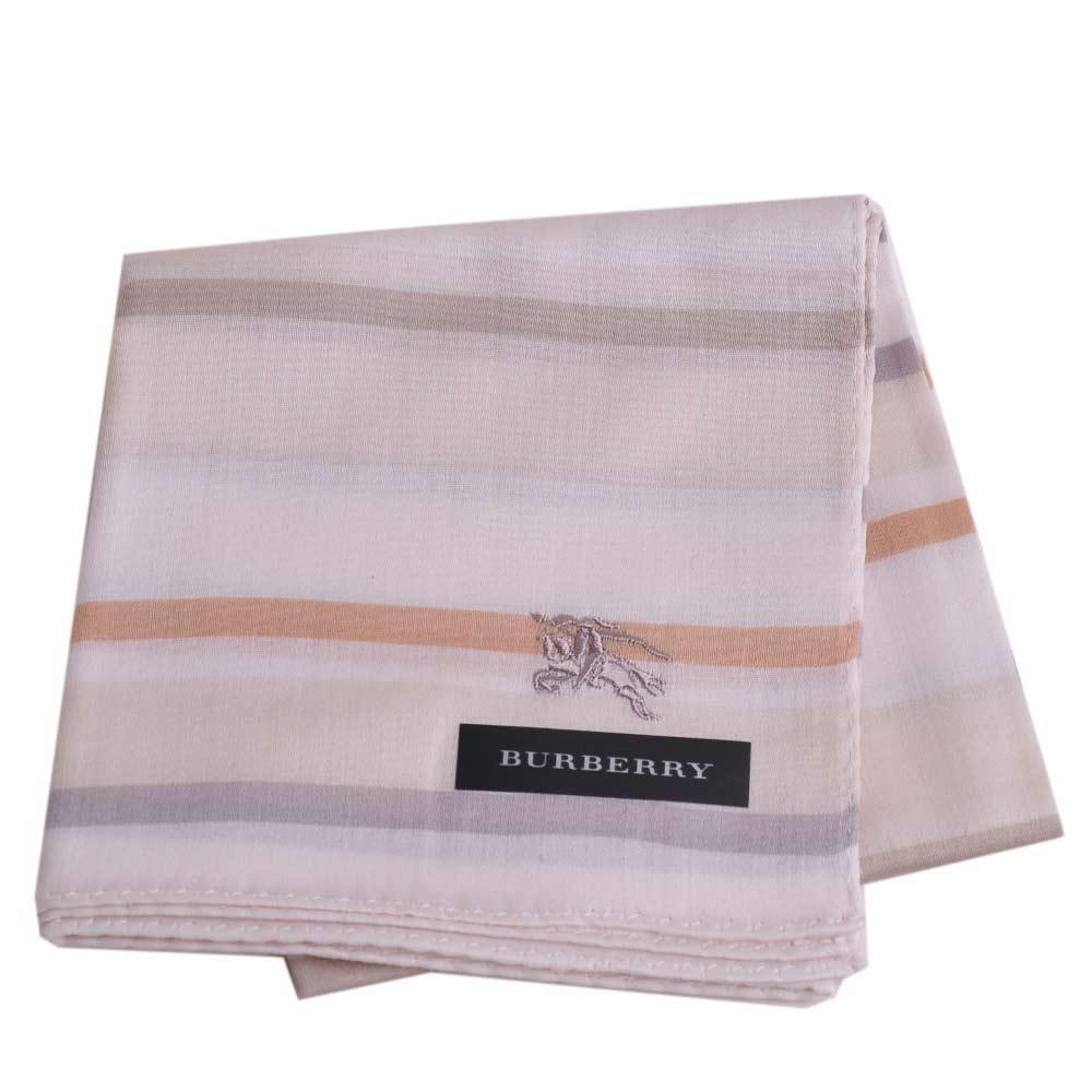 BURBERRY 經典戰馬刺繡橫紋戰馬LOGO帕領巾(米白)