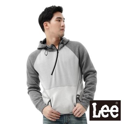 Lee-長袖厚T-刷毛連帽拉克蘭袖前開襟拉鍊-男款