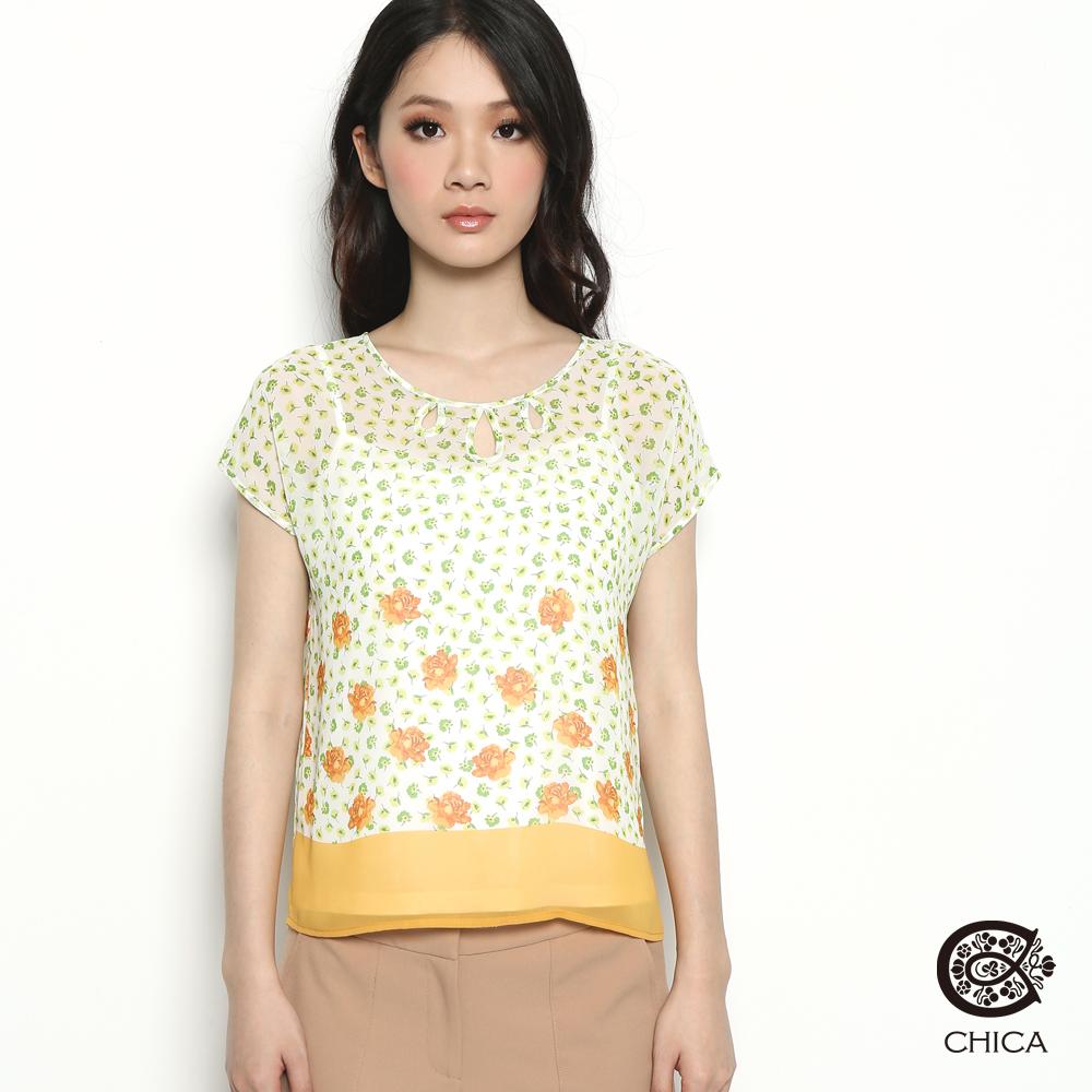 【CHICA】春漾花開 透膚印花襯衫(共二色)