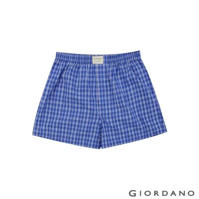 GIORDANO 男裝純棉撞色平底四角內褲-15 藍/白格子色