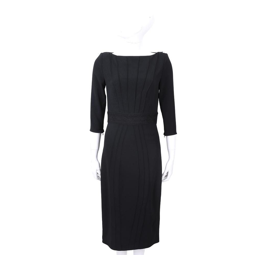 ELISABETTA FRANCHI 條紋蕾絲細節拼接黑色寬領絲質洋裝