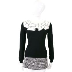 BOUTIQUE MOSCHINO 黑色荷葉圖騰羊毛針織上衣(100%WOOL)