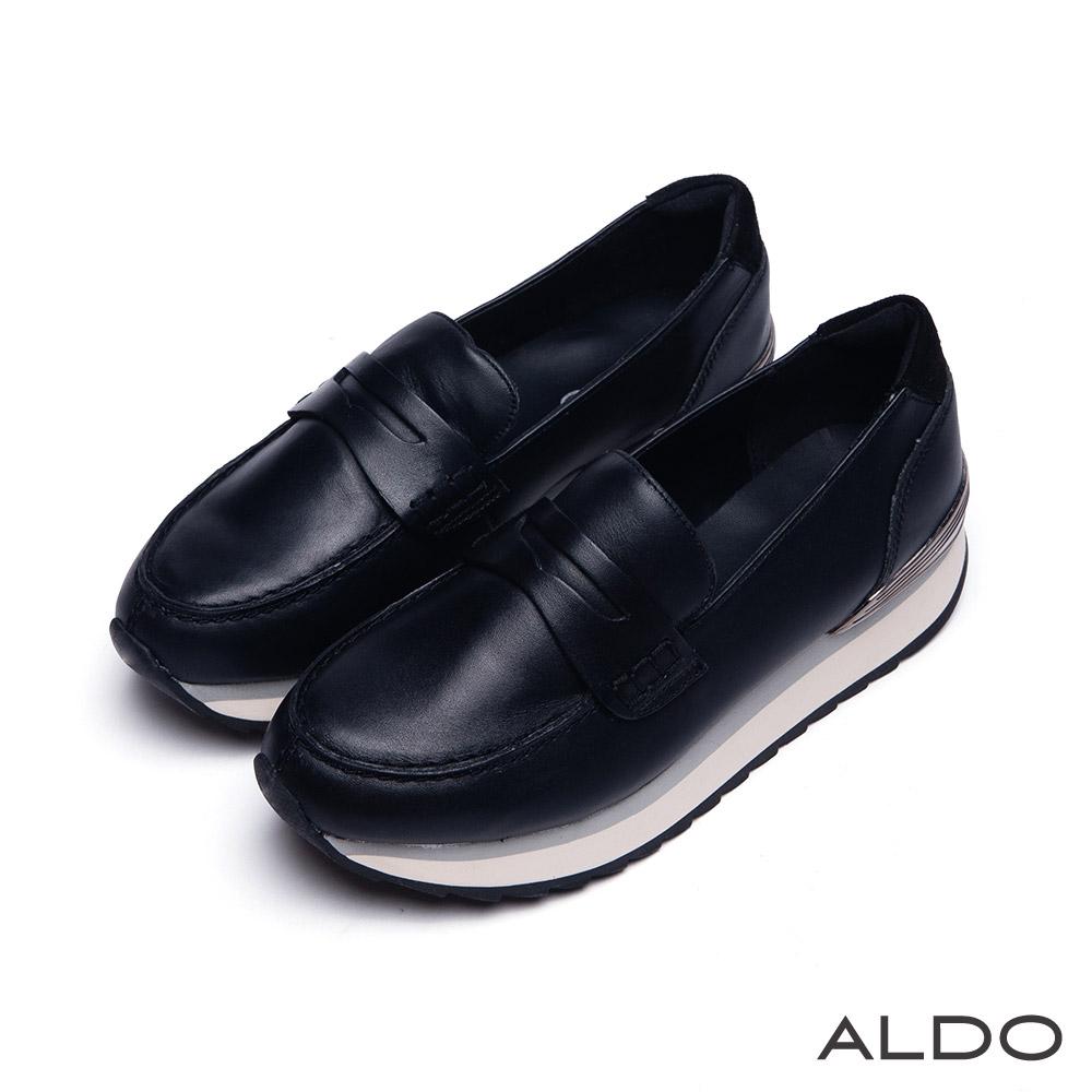 ALDO 個性摩登風原色夾心厚底樂福鞋~尊爵黑色