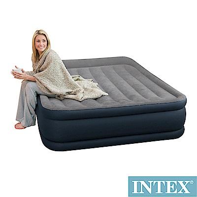 INTEX《豪華三層圍邊》雙人加大充氣床-寬152cm(內建電動幫浦)-灰色(64135)
