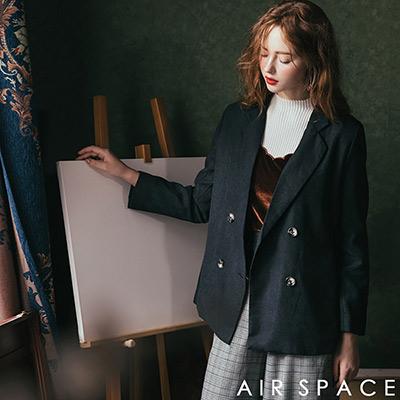 AIR SPACE 復古翻領排釦西裝外套(深藍)