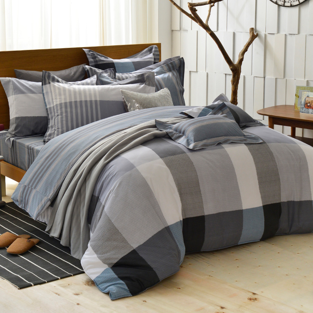 義大利La Belle 雙人純棉防蹣抗菌吸濕排汗兩用被床包組-英式風格