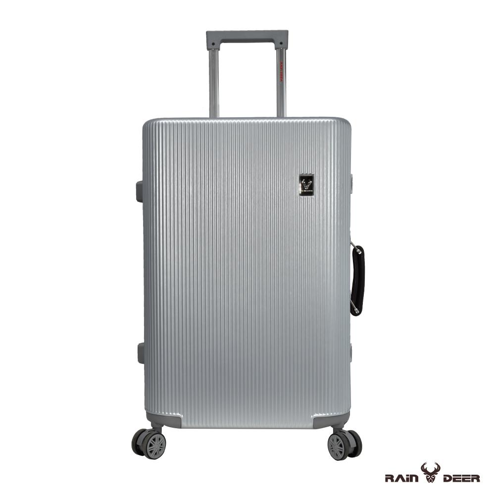 RAIN DEER 28吋秋之旅PC+ABS鋁框行李箱-鈦金銀