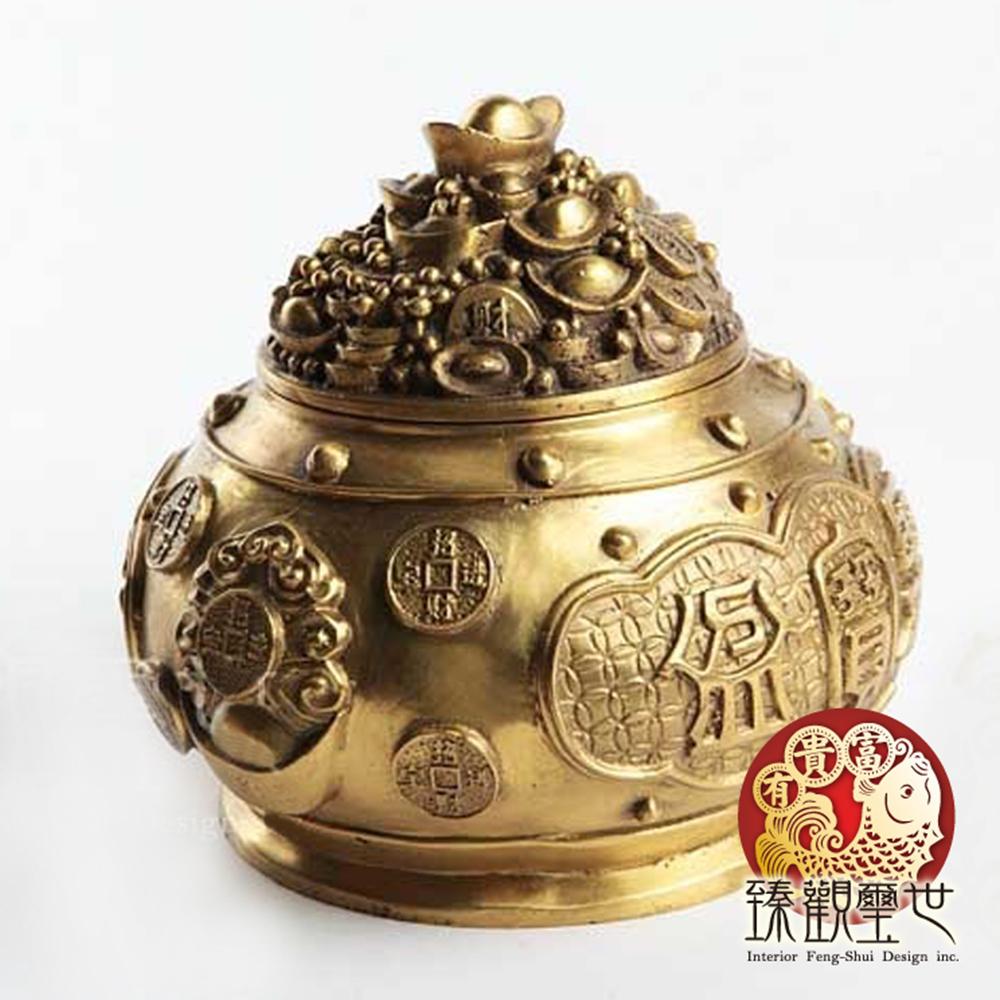 臻觀璽世 純銅招財進寶大聚寶盆+黃水晶+銅錢