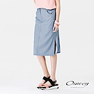 OUWEY歐薇 甜美藍條拼接衩襬窄裙(藍)