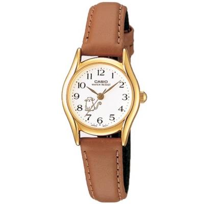 CASIO 經典復古氣質童真皮帶指針腕錶-貓咪圖樣(LTP-1094Q-7B8)/25mm