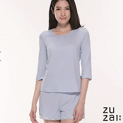 zuzai 自在絲感奇蹟長袖上衣-女-淺藍色