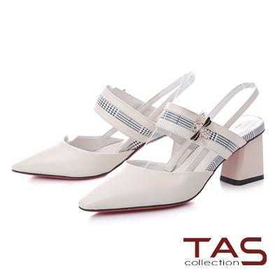 TAS金屬蜜蜂拼接千鳥格紋尖頭粗跟涼鞋-經典白