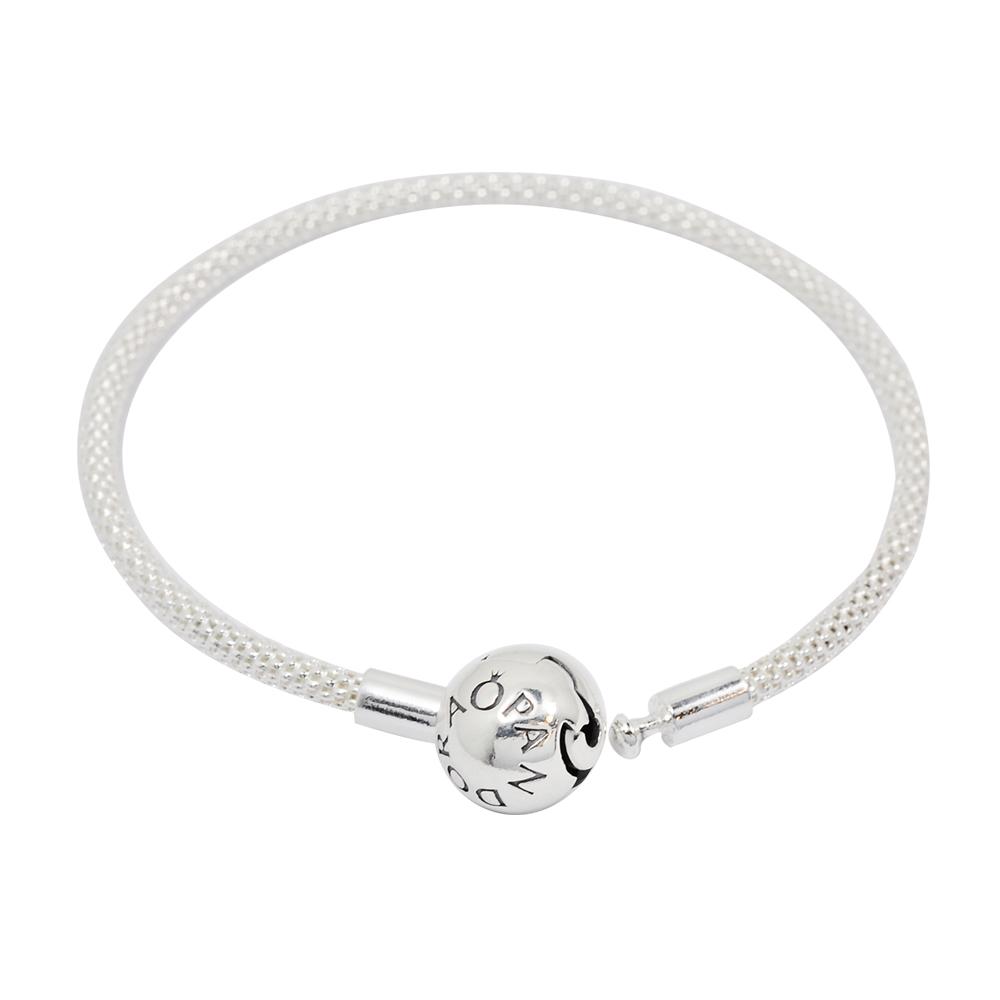 Pandora 潘朵拉 銀色網眼編織 圓珠開扣式純銀手鍊手環