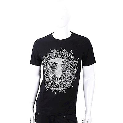 TRUSSARDI T字幾何圖印黑色棉質T恤