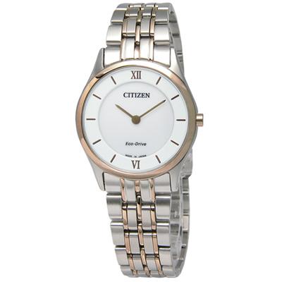 CITIZEN 都會輕薄日期仕女光動能女錶(EG3224-57A)-白x鍍玫瑰金/30mm