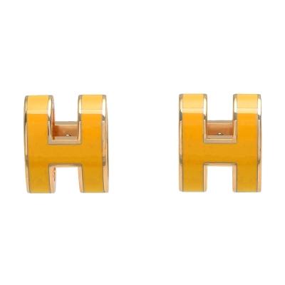HERMES 經典POP立體H LOGO簍空橢圓穿式耳環(印度黃X金)