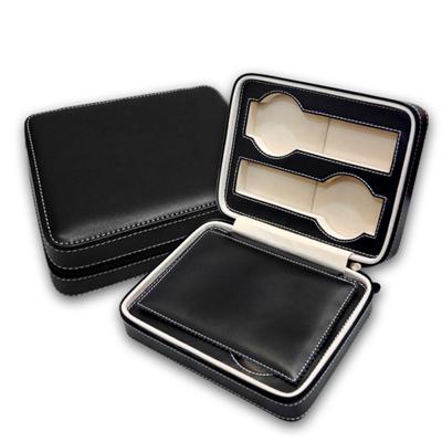細緻質感平式手錶拉鍊真皮收納包 四入裝 - 黑色