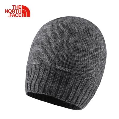 The North Face北面女款灰色透氣時尚保暖休閒運動針織帽