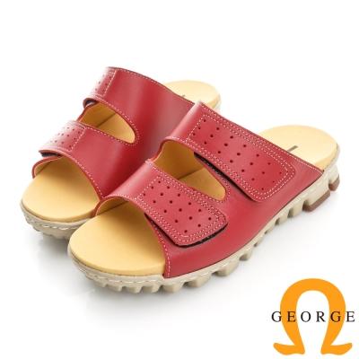 GEORGE喬治-舒適系列 真皮雙帶魔鬼氈拖鞋(女)-紅色