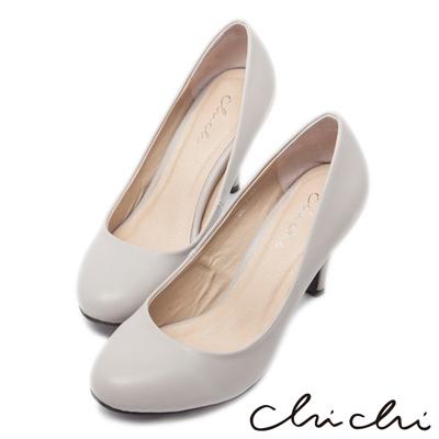 Chichi法式雅致-經典素面圓頭高跟鞋*灰色