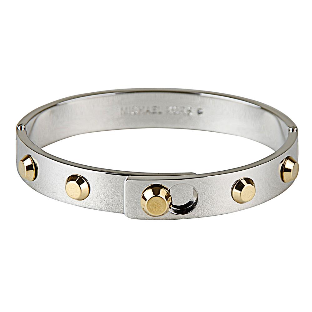 MK Michael Kors 低調奢華金色鉚釘扣式手環(銀色)