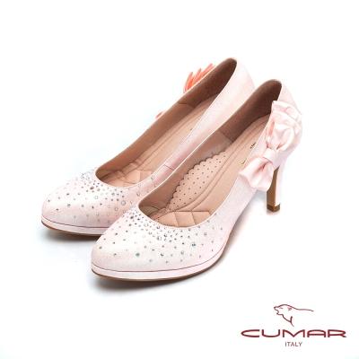 CUMAR-純色典雅 水鑽緞帶蝴蝶結高跟鞋-粉紅