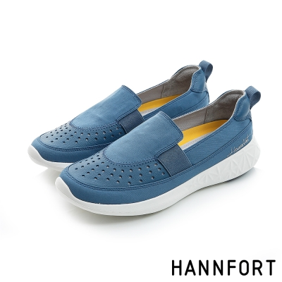 HANNFORT ICE網孔皮革透氣休閒便鞋-女-自在藍8H