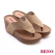 BESO 極簡風格 燙鑽厚底楔型夾腳拖鞋 米