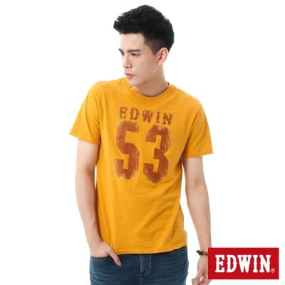 EDWIN-斑駁53植絨T恤-男-桔黃色