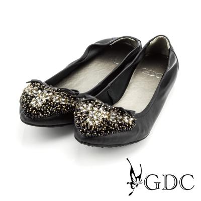 GDC-蝴蝶結心形雙色水鑽裝飾真皮平底娃娃鞋-黑色
