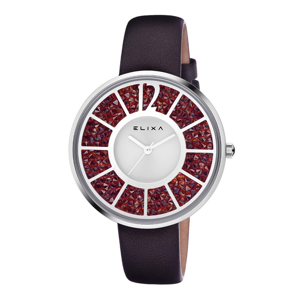 ELIXA Finesse簡約晶鑽錶面幾何刻度系列 知性紅40mm