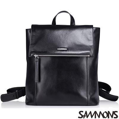 SAMMONS  真皮卡斯柏極簡後背包 經典黑