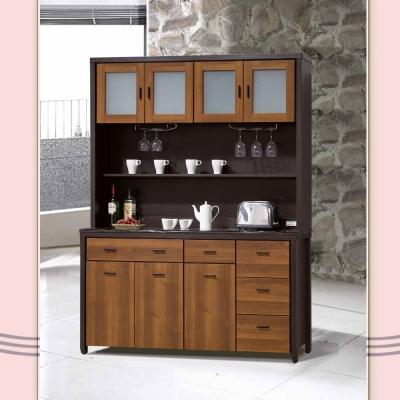 凱曼 阿德 5 尺石面雙色餐櫃收納櫃(上+下座)