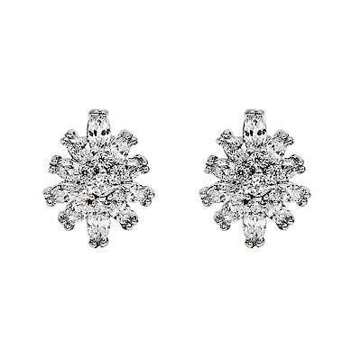 CAROLEE 歐美品牌 華麗花朵銀色耳環