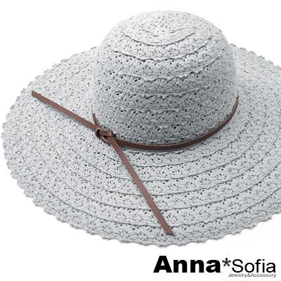AnnaSofia-蕾絲拼接革帶綁結-超寬簷遮陽草