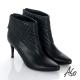 A.S.O 保暖靴 真皮後拉鍊奈米尖楦高跟踝靴 黑 product thumbnail 1