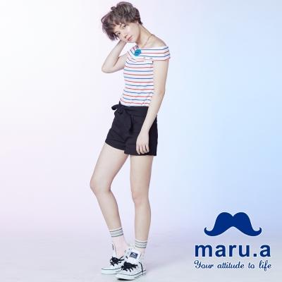 maru-a麻洛野-單釦設計綁結短褲