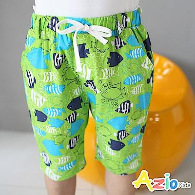 Azio Kids 短褲 滿版熱帶魚抽繩短褲(綠)