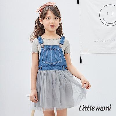 Little moni 牛仔網紗洋裝 (2色可選)