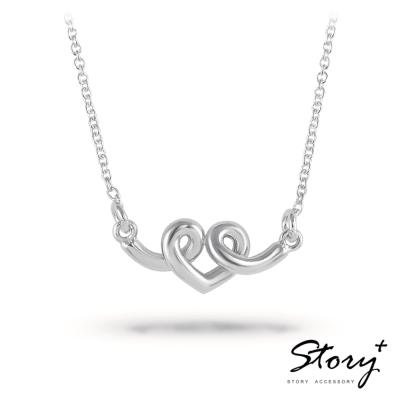STORY故事銀飾-纏綿的愛 純銀項鍊(白K金)