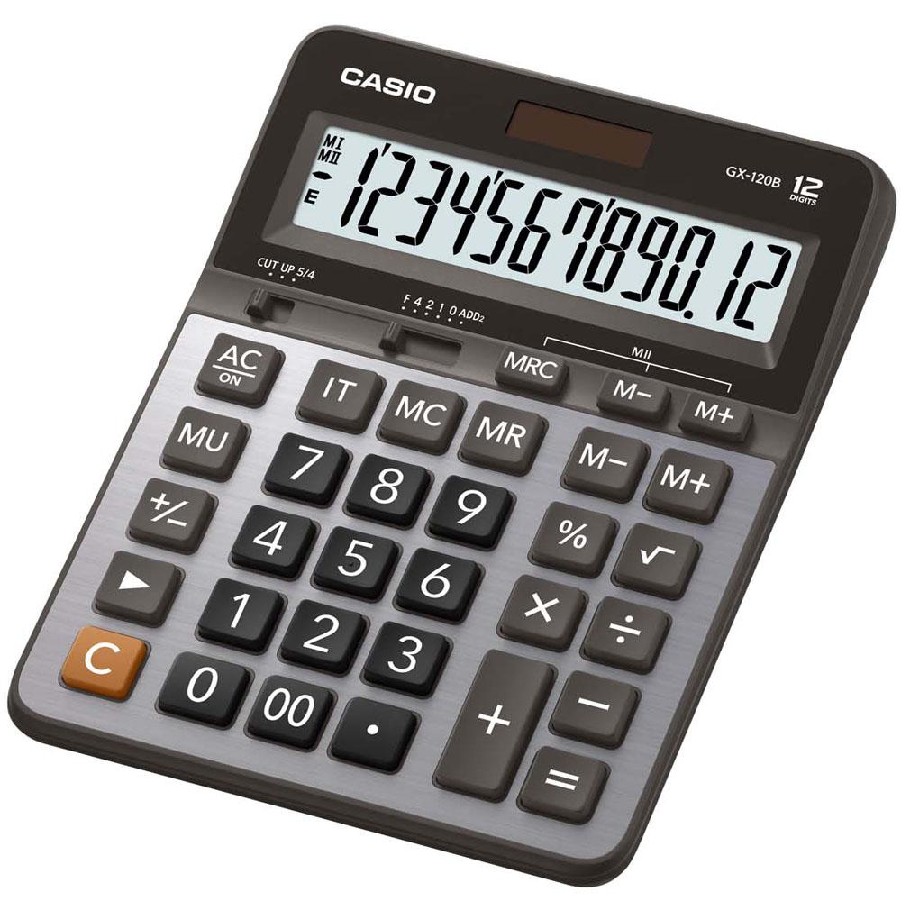 CASIO卡西歐桌上型12位數計算機-黑x灰(GX-120B)