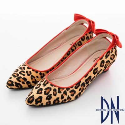 DN-魅力滿分-金蔥閃料時尚蝴蝶低跟鞋-咖