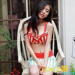 直條紋荷葉肩帶裙擺泳裝 (紅色)-CiAO妞 holiday