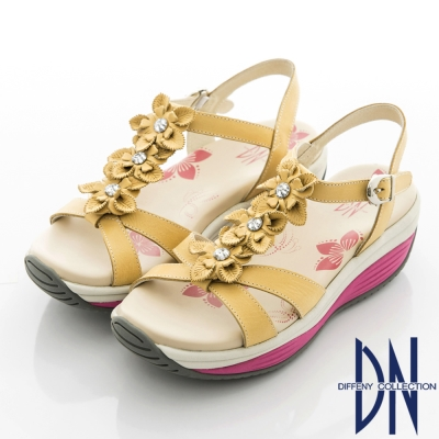 DN 渡假漫步 MIT牛皮雕花點綴水鑽厚底涼鞋~黃